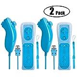 Wii Controller mit Nunchuck Remote Motion Plus Schwarz,Beinhome Eingebaute 2 in 1 Motion Nunchuck...