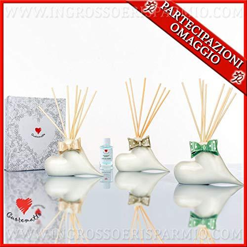 Cuorematto - profumatore in porcellana bianca a forma di cuore con fiocchi colorati, in due dimensioni, bomboniere matrimonio solidali, con scatola regalo inclusa (standard-con confezione verde)