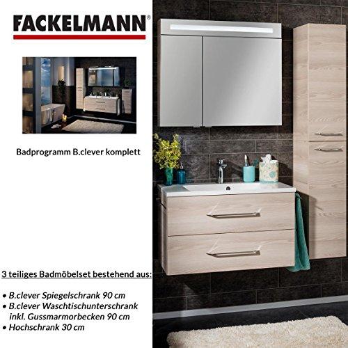 Fackelmann Badmöbel Set B.Clever 3-tlg. 120 cm esche mit Waschtischunterschrank inkl. Gussmarmorbecken & Hochschrank & Spiegelschrank 2 türig Alaska Esche