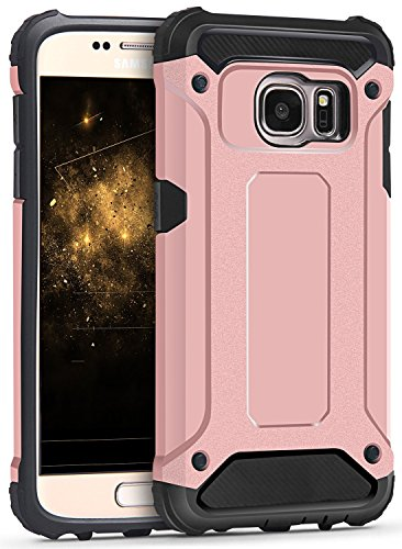 Samsung galaxy s7 edge case, terf robusto resistente agli urti armatura dual layer ibrido posteriore rigida antiurto custodia cover per galaxy s7 edge -, rose gold, galaxy s7 edge