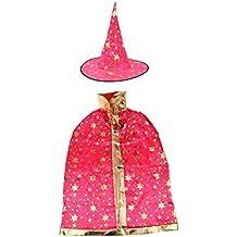 Blesiya Set Di 2 Pezzi Cosplay Halloween Costume Mantello Cappuccetto Strega - Rosa Rossa