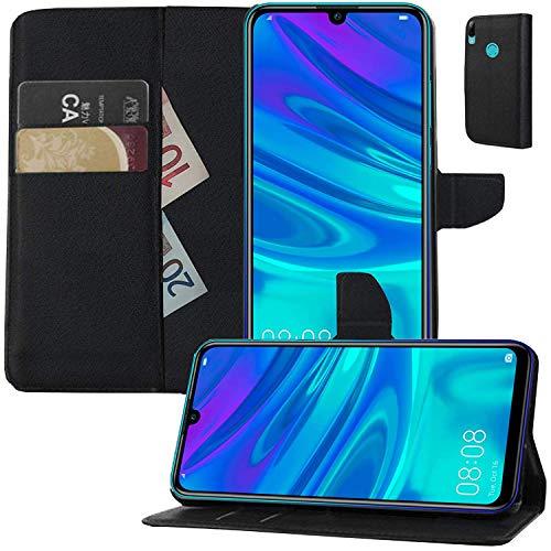 MOELECTRONIX Hülle für Huawei Y7 2019 Dual SIM DUB-L21 Buch Tasche Klapp Schutz Hülle Wallet Flip Case Etui SCHWARZ