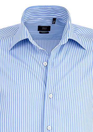 Eterna - Modern Fit - Bügelfreies Herren Langarm Hemd mit Kent Kragen in Blau gestreift (4729 X687) Blau (11)