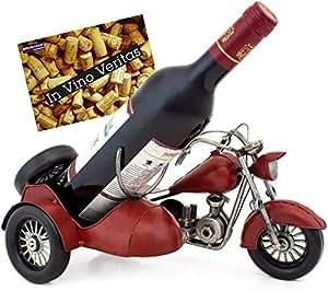 Brubaker Porte-Bouteille de vin - Moto Side-Car - Métal - Carte de vœux Incluse - Idée Cadeau Originale - Objet décoratif