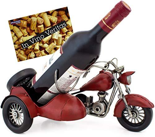 Brubaker portabottiglie dal Design Motocicletta con carrozzino in Metallo e Dipinta a Mano e con Biglietto d'auguri