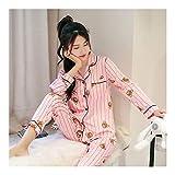 HAOLIEQUAN Frühling Herbst Womens Pyjama Sets V-Ausschnitt Cartoon Langarm Frauen Nachtwäsche Pyjamas Mädchen Nachthemd Für Frau Plus, XL