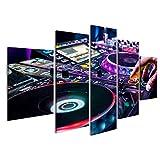 islandburner Bild Bilder auf Leinwand DJ mischt die Strecke im Nachtclub auf Party Wandbild, Poster, Leinwandbild ERZ