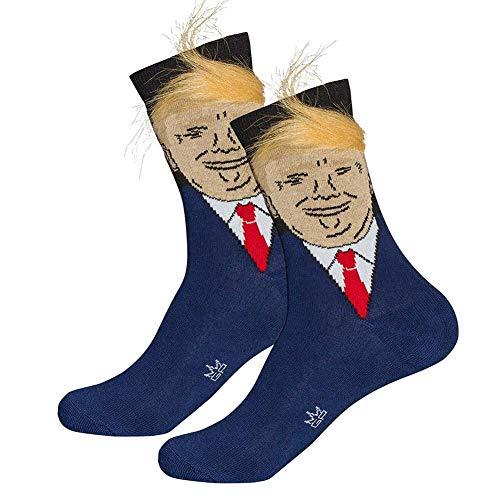 Ohwens 1/2/3/4/ 5/10 STK Herren Socken, Neuheit Socken, President Donald Trump Socken mit 3D Falsche Haar Crew Socken, Pudel mit Falsche Haarkamm über Erwachsene Crew Länge Socken - 5pcs - Crew Länge Socken