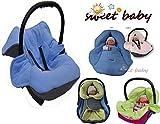Sweet Baby - MULTI SOFT Einschlagdecke HERBST / WINTER ** 3 UND 5 Punkt GurtSystem ** Universal für Babyschale, Autokindersitz, z.B. für Maxi-Cosi, Römer, für Kinderwagen, Buggy oder Babybett -- GRAU / BLAU --