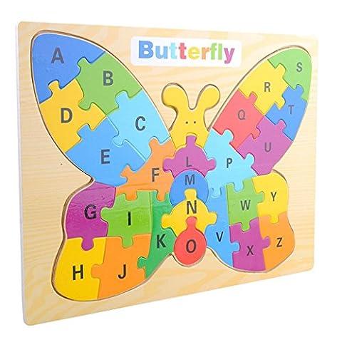Edealing (TM) Jeux de casse-tête Wood Butterfly Letter A-Z Case Multicolored Kids Baby Educational Toy