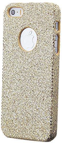 iCues Apple iPhone SE / 5S / 5 |  Glitzer Case Türkis | [Display Schutzfolie Inklusive] Strass Glitzer Glitter Luxus Bling Damen Frauen Mädchen Schutzhülle Hülle Cover Schutz Gold