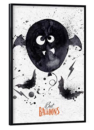 schwarzem Rahmen 30x20 cm Typografie Halloween Balloon - Bild Halloween Night Illustration ()