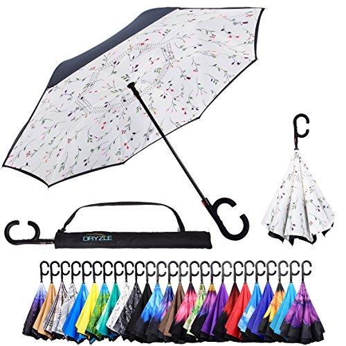 Dryzle Auto-Open Rückseite Faltbarer Regenschirm für Regen, Sonne & Auto von Doppelt gelegter UV Regenschirme für Frauen und Männer, C Haken Griff für Golf und Sport, Blossom, 23 inch X 8 Panels -