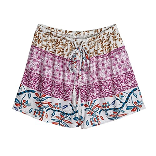TWIFER Damen Hot Pants Sommer Shorts Hohe Taille Kurze Hosen (L, Lila)