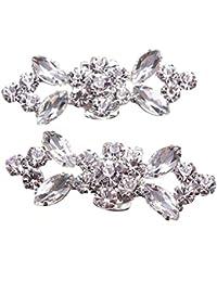 SODIAL(R) 1Pair Rhinestone Crystal Wedding Bridal Diamante Crystal Shoe Clips