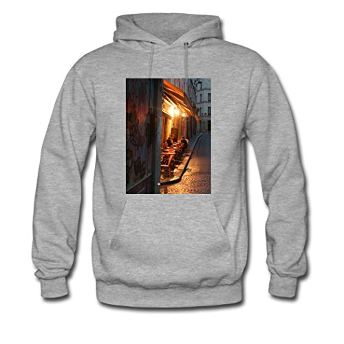 weileDIY Cafe Terrace at Night by Vincent van Gogh DIY Custom Classic Women Hoodie Sweatshirt Gray_A