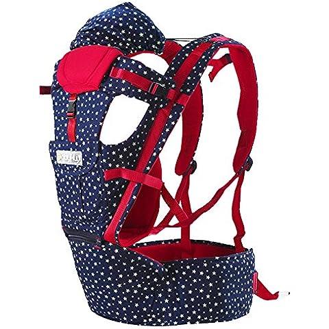 ZUOAO Ajustable Fular Portabebés - Ergonomico Portador de Bebé de Múltiples Funciones 100% Algodón, 4 Posiciones Confort de Viaje, Portador de Algodón de Transpirable, Ideal para Bebé de 0 a 36
