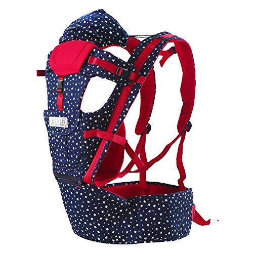 ZUOAO Multi-funzionale Porta Bebè Regolabile, Ergonomico Baby Carrier 100% Cotone, Confortevole e Traspirante, Sling Marsupio Ideale per il Bambino da 0-36 Mesi, 4 Posizione Comfort di Viaggio