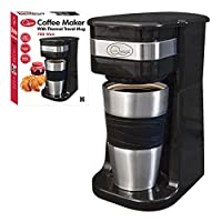 Quest Benross One Cup Filter Coffee Maker with Travel Mug and Lid, 700 Watt