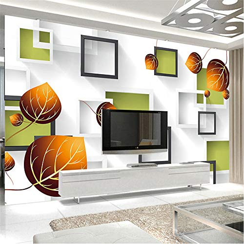 Zybnb Benutzerdefinierte Fototapete 3D Stereo Geometrie Quadrat Box Herbst Blätter Große Wandmalerei Wohnzimmer Sofa Tv Hintergrund Wandbild-350X250Cm