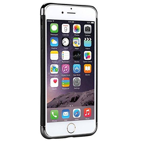Coque iPhone 6S, GrandEver Housse Silicone TPU Back Case pour iPhone 6 Argent Electro Placage 3 en 1 Series TPU Bumper Cover Caoutchouc Doux Gel Couverture Coquille Rubber Gel SKin Housse Protecteur p Noir
