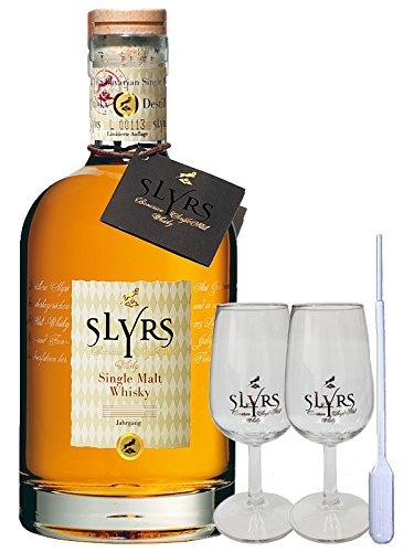 Slyrs Bavarian Whisky Deutschland 0,7 Liter + 2 Slyrs Whisky Gläser + 1 Pipette