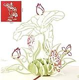 Keep Sake Popup-Karte mit grüner Blume und roter Rose, 3D