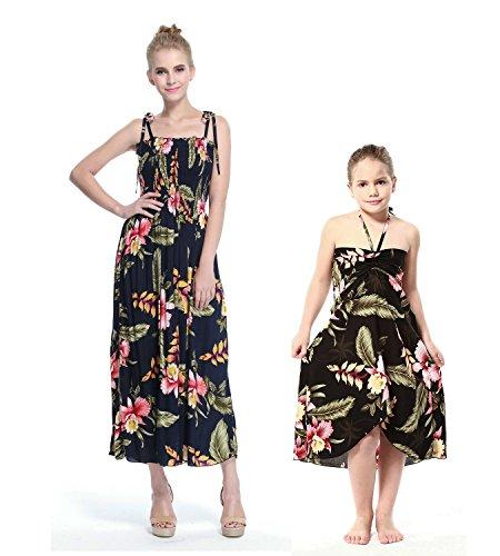 Mutter und Tochter passend zu Hawaii Luau Maxi elastisches Kleid Mädchen-Schmetterling im Schwarze Rafelsia 4 (Rock Taille Elastische Butterfly)