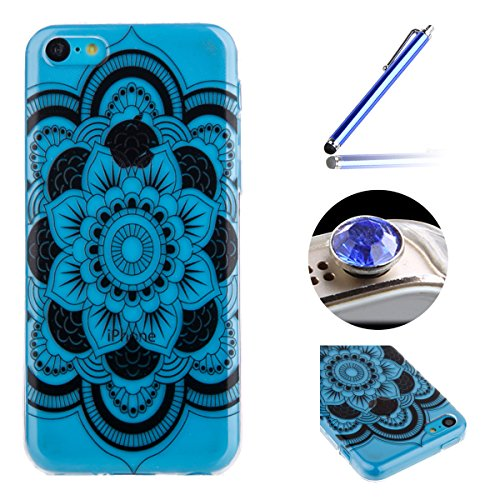 Etsue für iPhone 5C TPU Silikon Schutz Handy Hülle Muster, Henna Tribal Mandala Floral schwarz Blume Blumen Malerei Silikon Ultradünnen Weiche Transparent Crystal Clear Case Back Hülle Bumper Etui Sch Aztec Tribal Blumen