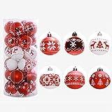 samLIKE 24PC Weihnachtsbaum Weihnachtskugeln Dekorationen Baubles Party Hochzeit Ornament 6 cm (Rot)