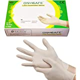 ONSAFE Latex Medical Examination Disposable Powdered Hand Gloves -100 Pieces Each Pack (Large, Pack of 1,Multicolour)