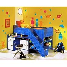 MYVINILO - Vinilo infantil - space robots naranja / rojo / azul medio (150 x 150 cm)