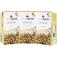 Greenbrrew Healthy Natural Lemon Instant Unroasted Coffee Beans Extract - Manages Blood Sugar Levels, Catalyst for weight Loss, Reduces Blood Pressure - each pack 60g (20 Sachets PP) - Pack of 3