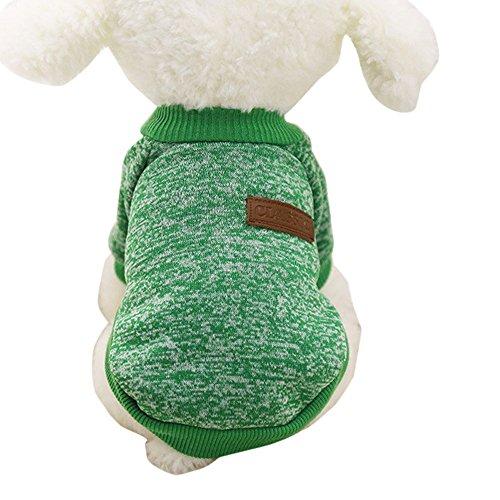 ♥ Loveso ♥-Huastier Hunde Kleider Bekleidung 8 Farben Hundewelpen Haustier klassische Vlies Winter warme Strickjacke Kleidung (♥ Größe:M, Grün) (Mops Kostüme 2017)