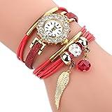HUIHUI Uhren Damen, Geflochten Armbanduhren Günstige Uhren Wasserdicht Casual Analoge Quarz Uhr Luxus Armband Coole Uhren Lederarmband Mädchen Frau Uhr (Rot)