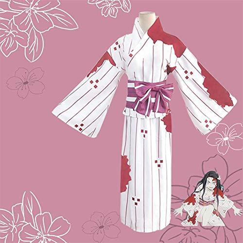 GGOODD Damen Cosplay Kostüm Anime Demon Slayer: Kimetsu No Yaiba Kamado Nezuko Japanischer Kimono Halloween Karneval Blutfleck Kleid (Japanische Dame Adult Kostüm)