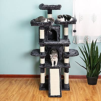 FEANDREA Big Cat Tree, Cat Tower with 3 Comfortable Viewing Perches, Cat Condo with 2 Cuddly Caves, Thick Sisal Posts, Extra Scratch Board, Stable, 172 cm, Smoky Grey PCT18GYZ from FEANDREA