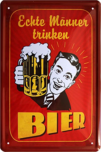 Blechschild 20x30 cm Echte Männer trinken Bier Spruch fun Bar Metall Schild (Trinken Echte Männer)