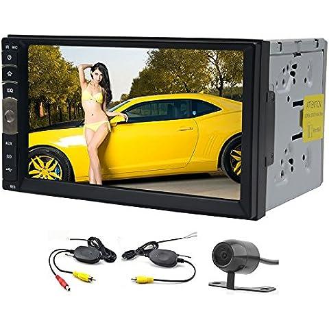 EinCar 7 pulgadas Linux Doble 2 Din Bluetooth pantalla táctil del coche NO-DVD estéreo en sistema de navegación GPS con la cámara de reserva sin hilos Función de Apoyo de control de la rueda de Radio / USB / SD / Manejo Negro