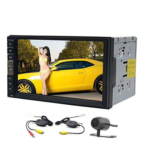 EinCar 7 pouces Linux Double 2 Din voiture Bluetooth écran tactile NO-DVD Stéréo Dash Système de navigation GPS avec caméra de recul sans fil Control Support Radio / USB / SD / Volant Fonction Noir