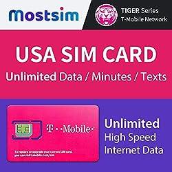 MOSTSIM - T-Mobile USA SIM-Karte 7 Tage, unbegrenztes Highspeed-Datenvolumen/unbegrenzte Anrufe/Textnachrichten, T-Mobile SIM-Karte US Vereinigte Staaten