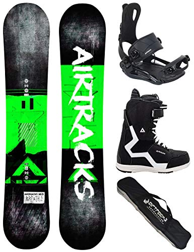 Airtracks 152 156 159 - tavola da snowboard breath wide flat rocker + attacchi per snowboard master + stivali + sb bag 163 cm, boots strong ql 41