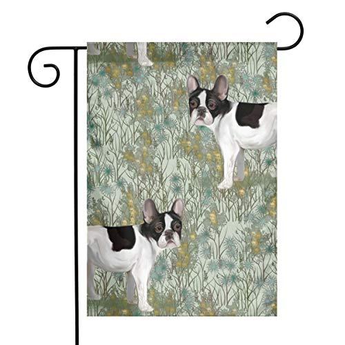 Dama Home Französische Bulldogge im Wildblumenfeld auf tadellosem grünem Kunst-Garten-Flaggen-Yard-Flaggen-12 x 18