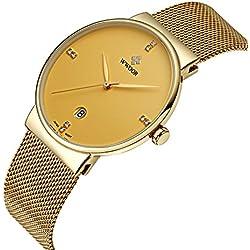 wwoor Herren 's Ultra dünnes Mesh-Band Edelstahl Uhren Männlich Elite Sport Datum Armbanduhr Gold