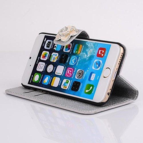 """inShang Hülle für Apple iPhone 6 Plus iPhone 6S Plus 5.5 inch iPhone 6+ iPhone 6S+ iPhone6 5.5"""", Cover Mit Modisch Klickschnalle + Errichten-in der Tasche + SILK PATTERN FLOWER DECORATION , Edles PU L camellia silver"""