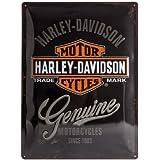 Nostalgic Art Harley Davidson Genuine Logo - Placa decorativa, metal, 30 x 40 cm, color negro y naranja