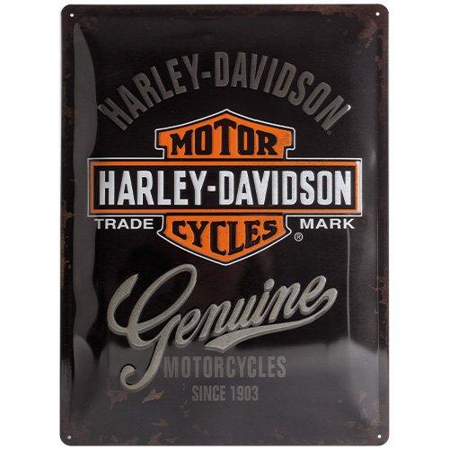 nostalgic-art-harley-davidson-genuine-logo-placa-decorativa-metal-30-x-40-cm-color-negro-y-naranja