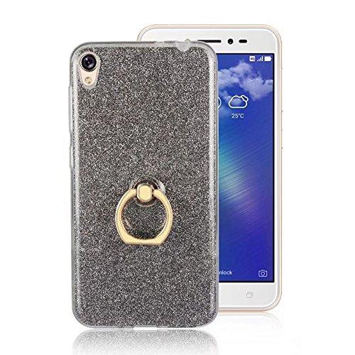 EKINHUI Case Cover Soft Flexible TPU Back Cover Case Shockproof Schutzhülle mit Bling Glitter Sparkles und Kickstand für Asus ZenFone 3 Go Live ZB501KL ( Color : Blue ) Black
