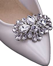 Casualfashion 2Pcs Bling Bling Crystal Rhinestones Wedding Party Prom Shoe Clips Buckles Decorations for Women