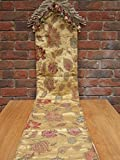 Lucerne Antique Gold Table Runner 230cm x 33cm approx; finished with a bullion fringe and double knotted tassels on two ends; this top quality runner is also backed with a plain cotton velvet giving an extra feeling of quality. ~~ The LUCERNE options include: - A matching Sofa Throw, a 45cm x 45cm scatter cushion plus an Extra Large 58cm x 58cm cushion complete with a choice of 2 interior cushion pads, plus a choice of 2 colourways ~ Antique Gold & Champagne.
